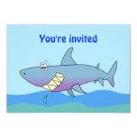 "Cute Smiling Cartoon Shark Party Invitations 5"" X 7"" Invitation Card"
