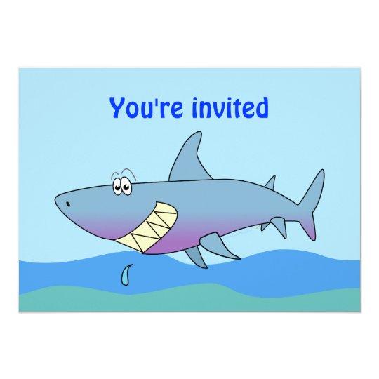 cute smiling cartoon shark party invitations | zazzle, Party invitations