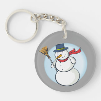 Cute Smiling Christmas Snowman! (Customize It!) Keychain