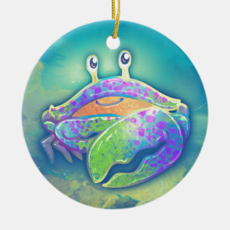Cute Smiling Crab Ceramic Ornament