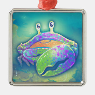Cute Smiling Crab Metal Ornament