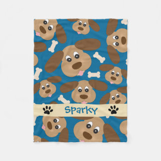 Cute Smiling Dog with Big Ears Personalized Fleece Blanket