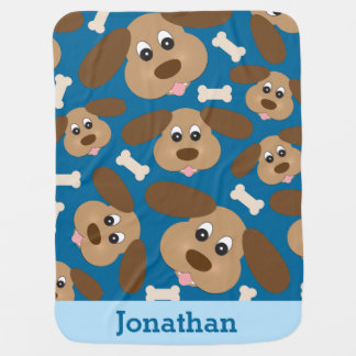 Cute Smiling Dog with Big Ears Personalized Baby Blankets