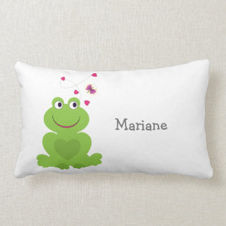 Cute smiling frog with hearts and butterfly lumbar pillow