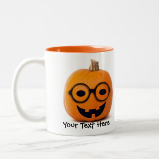 Cute Smiling Geek Jack o Lantern with Glasses Mug