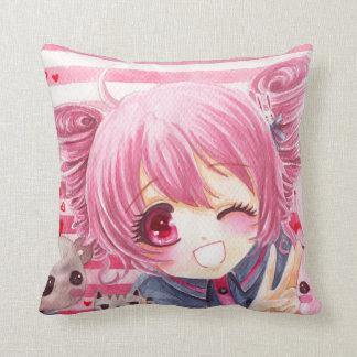 Cute smiling girl with kawaii stuffed animals throw pillow