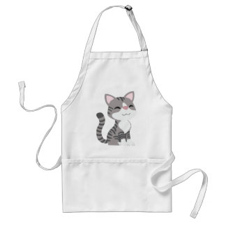 Cute Smiling Gray Tabby Cat Adult Apron