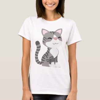 Cute Smiling Gray Tabby Cat T-Shirt