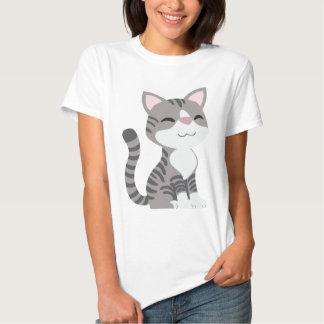 Cute Smiling Gray Tabby Cat Tee Shirt
