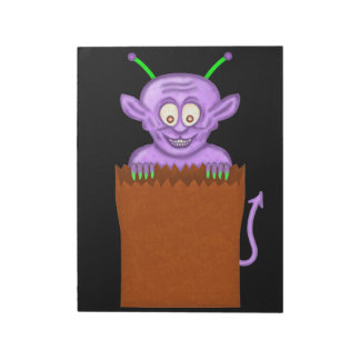 Cute Smiling Halloween Goblin Monster Notepad
