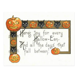 Cute Smiling Jack O Lantern Black Cat Postcard
