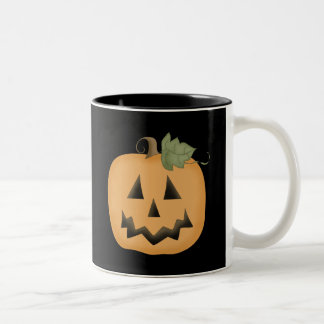 Cute Smiling Jack O'lantern Two-Tone Coffee Mug