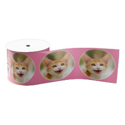 Cute Smiling Kitten Funny Cat Meow Pet Photo - Grosgrain Ribbon