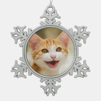 Cute smiling kitten funny cat meow snowflake pewter christmas ornament