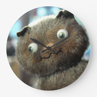 Cute Smiling Kitty Time Buddy Large Clock