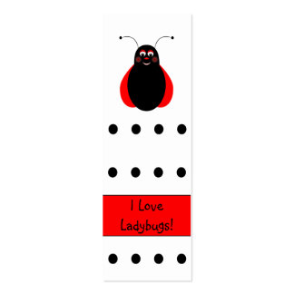 Cute Smiling Ladybug Bookmark Business Card Template