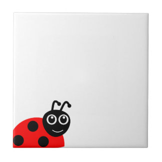 Cute Smiling Ladybug Cartoon Tile