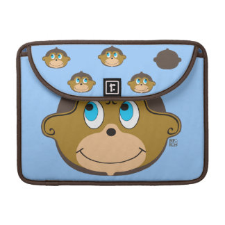 Cute smiling monkeys pattern, boy's blue sleeve for MacBook pro