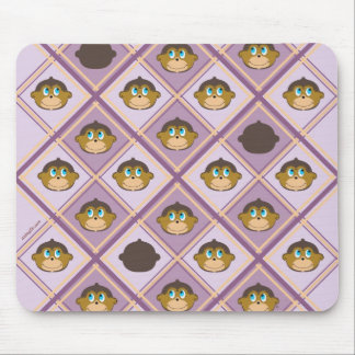 Cute smiling monkeys plaid pattern girly pink mouse pad