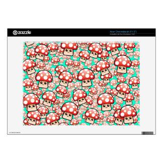 Cute Smiling Mushrooms Vector(editable) Acer Chromebook Decals