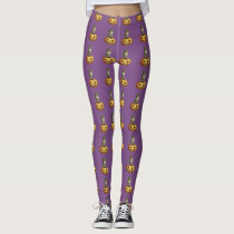 Cute Smiling Owl Jack O Lantern Pumpkin Leggings