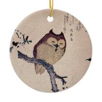 Cute Smiling Owl Japanese Print Ceramic Ornament