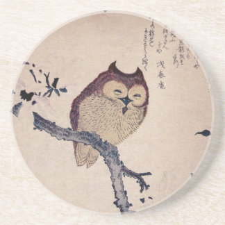 Cute Smiling Owl Japanese Print Coasters