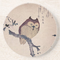 Cute Smiling Owl Japanese Print Drink Coaster