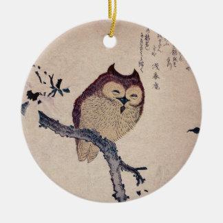 Cute Smiling Owl Japanese Print Christmas Ornament