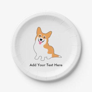 Cute Smiling Pembroke Welsh Corgi Dog Paper Plate