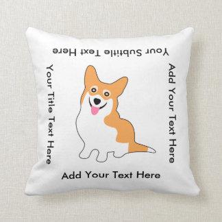 Cute Smiling Pembroke Welsh Corgi Dog Throw Pillow