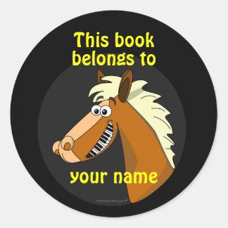 Cute Smiling Piano Horse Kids Custom Bookplates Classic Round Sticker