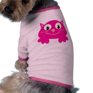 Cute Smiling Pink Cartoon Cat Custom Dog T Shirt