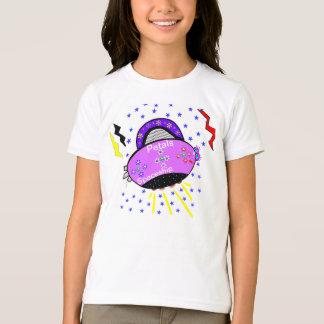 Cute Smiling Pink Purple Petals Spaceship Stars T-Shirt