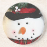 Cute Smiling Snowman Toy Beverage Coasters