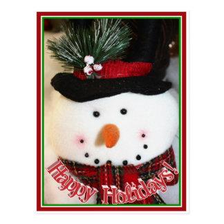 Cute Smiling Snowman Toy Postcard