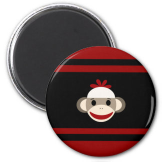 Cute Smiling Sock Monkey Face on Red Black 2 Inch Round Magnet