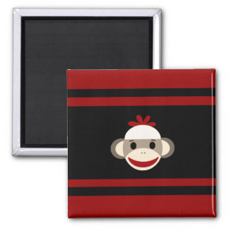 Cute Smiling Sock Monkey Face on Red Black 2 Inch Square Magnet
