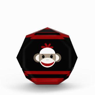 Cute Smiling Sock Monkey Face on Red Black Award