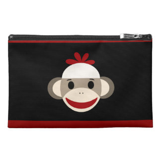 Cute Smiling Sock Monkey Face on Red Black Travel Accessory Bag