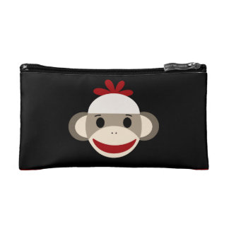 Cute Smiling Sock Monkey Face on Red Black Makeup Bag