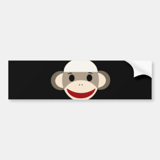 Cute Smiling Sock Monkey Face on Red Black Bumper Stickers