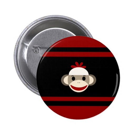Cute Smiling Sock Monkey Face on Red Black Pinback Buttons