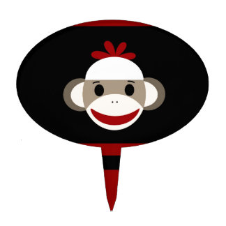 Cute Smiling Sock Monkey Face on Red Black Cake Topper