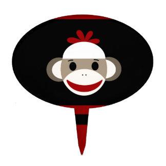 Cute Smiling Sock Monkey Face on Red Black Cake Topper