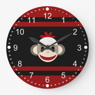 Cute Smiling Sock Monkey Face on Red Black Wall Clock
