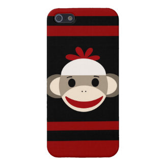 Cute Smiling Sock Monkey Face on Red Black Cover For iPhone SE/5/5s