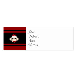 Cute Smiling Sock Monkey Face on Red Black Double-Sided Mini Business Cards (Pack Of 20)