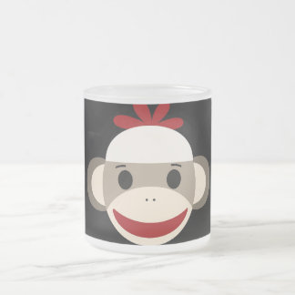 Cute Smiling Sock Monkey Face on Red Black Frosted Glass Coffee Mug