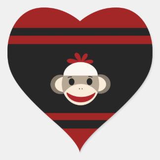 Cute Smiling Sock Monkey Face on Red Black Heart Sticker